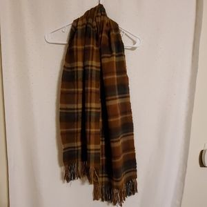 Vintage | Brown Plaid Fringe Scarf